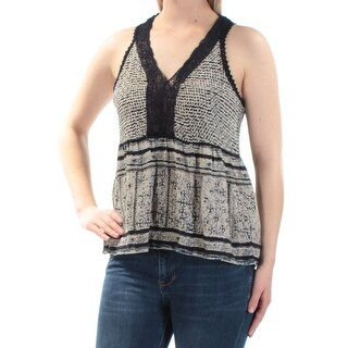 Womans Navy Lace Embroidered Printed Sleeveless V Neck Baby Doll Top Size S