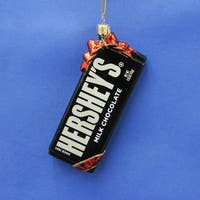 """Pack of 6 Hershey's Glass Chocolate Bar with Red Ribbon Christmas Ornaments 5"""" - brown"""