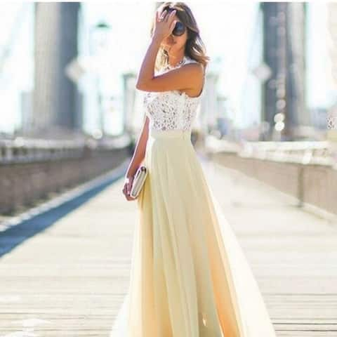 Beautiful Lace Stitching Chiffon Maxi Dress Dress Skirt