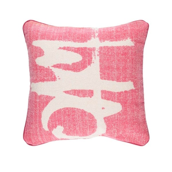 "20"" Vibrant Pink and Taupe Gray Art Deco Woven Throw Pillow – Down Filler"