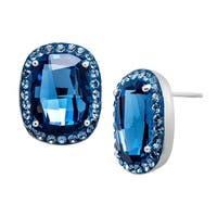 Crystaluxe Stud Earrings with Denim Blue Swarovski elements Crystals in Sterling Silver