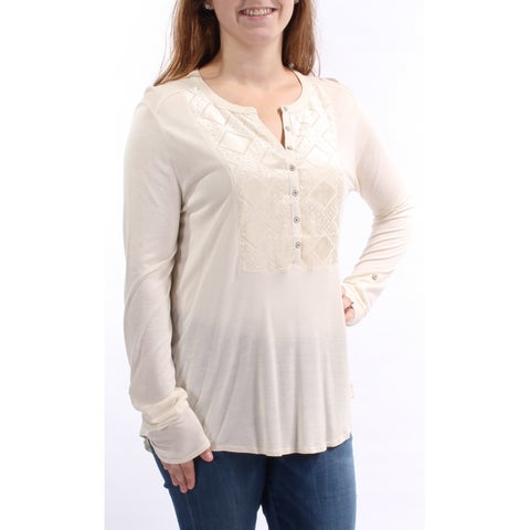 LUCKY BRAND Womens Ivory Long Sleeve V Neck Hi-Lo Top Size: M