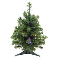 """18"""" Pre-Lit Natural Two-Tone Pine Artificial Christmas Tree - Multi LED Lights"""