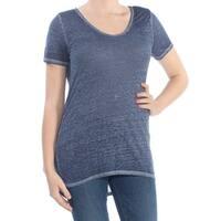 INC Womens Navy Short Sleeve Scoop Neck T-Shirt Top  Size: M