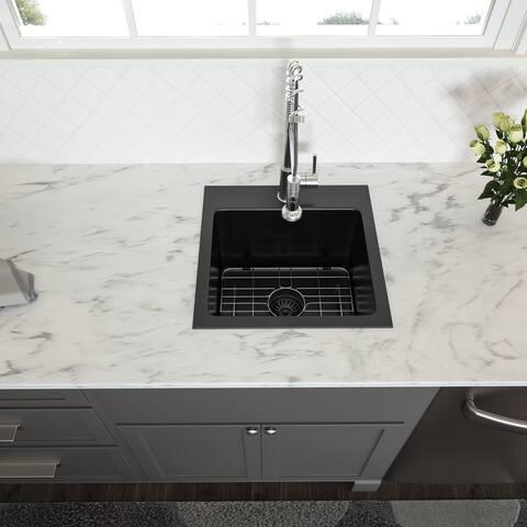 15x15 inch Kitchen Sink Topmount Gunmetal Matte Black