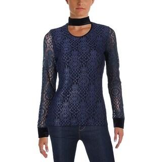 T Tahari Womens Mirah Casual Top Lace Metallic