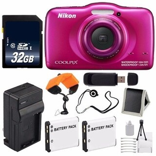 Nikon COOLPIX S33 Digital Camera (Pink) International Model No Warranty + Replacement Battery + External Charger Bundle