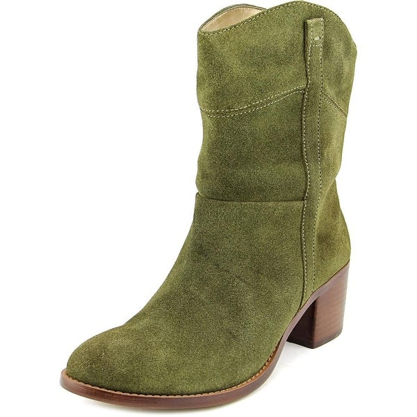 Adrienne Vittadini Fonzie Women Round Toe Suede Green Mid Calf Boot