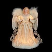 "12"" Elegant Ivory Lighted Angel Christmas Tree Topper - Clear Lights - White"
