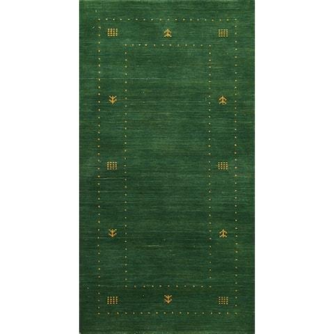 "Modern Green Tribal Gabbeh Oriental Runner Rug Wool Hand-knotted - 2'5"" x 4'7"""