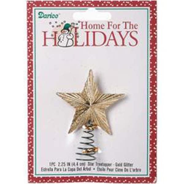 """Gold Glitter Star - Mini Tree Topper 2.25"""""""