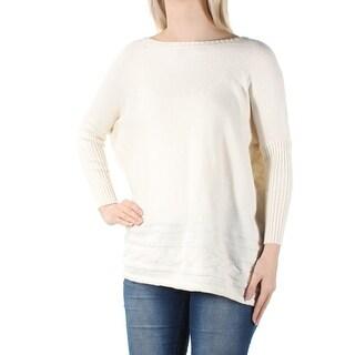 Womens Ivory Dolman Sleeve Jewel Neck Sweater Size S