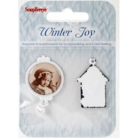 Scrapberry's Winter Joy Metal Embellishments 2/Pkg-#2, 2 Framed Photos & House Charm