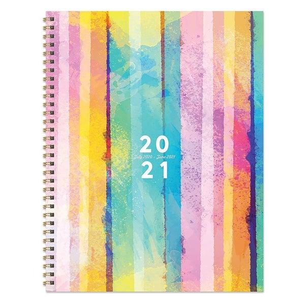 July 2020-June 2021 8.5x11 Large Daily Weekly Monthly Painted Stipe Spiral Planner with Stickers. Opens flyout.