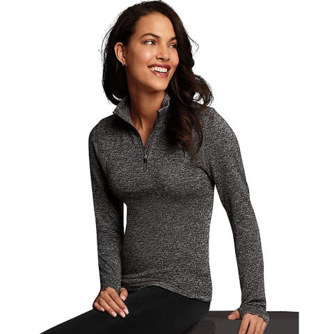Maidenform Baselayer Thermal Mock Zip - Color - Charcoal Grey Heather - Size - L