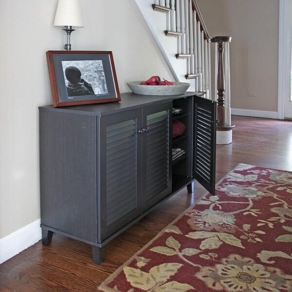 Porch & Den Espresso Wood 3-door Cabinet. Opens flyout.