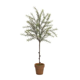 Pack of 2 Lovely Artificial Springtime Potted Rosemary Topiary Trees 30 - Green
