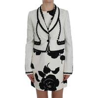Dolce & Gabbana White Black Brocade Torero Blazer Jacket - it40-s