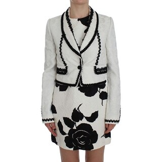 Dolce & Gabbana White Black Brocade Torero Blazer Jacket - it40-s