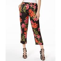 Guess Black Women's Size XL Floral Print Satin Pants Stretch