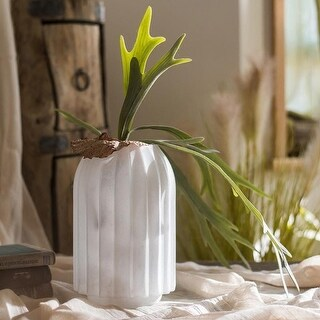 G Home Collection Rustic Snow Mountain Hand Blown Glass Vase