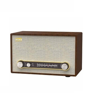 QFX Retro 100 Bluetooth AM/FM Radio Wood/Gray