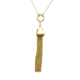 Just Gold Tassel Drop Necklace in 10K Gold - Yellow