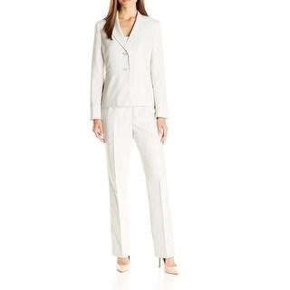 Le Suit NEW Beige Womens Size 14 Two Button Striped Pant Suit Set