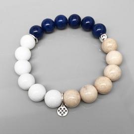 White, Ivory & Blue 'See Breeze' stretch bracelet 14k over Sterling Silver