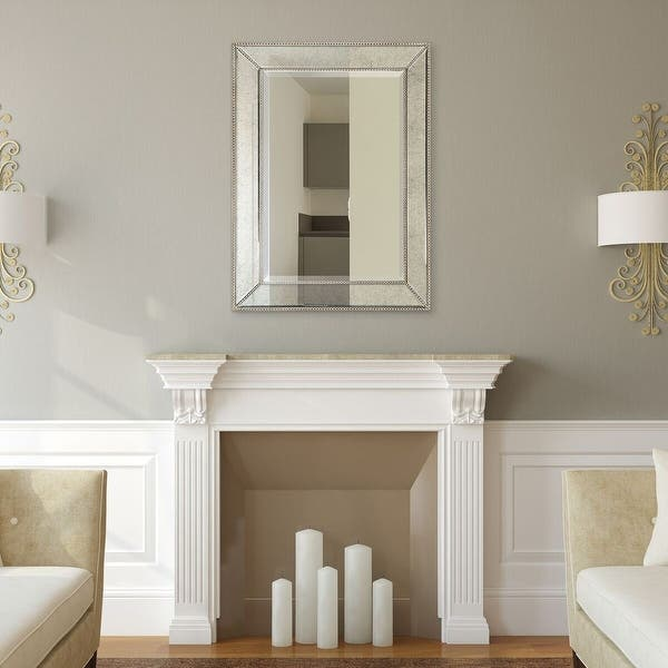 Shop Champagne Beveled Wall Mirror Solid Wood Frame Covered With Beveled Antique Mirror Panels Overstock 20577268