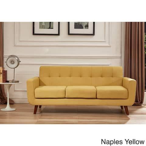U.S. Pride Furniture Grace Rainbeau Linen Upholstered Tufted Mid-century Sofa