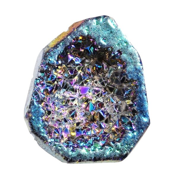 Agate Titanium Druzy Gemstone, Assorted Top-Drilled, Small 17-24mm, 1 Pc, Blue Iris