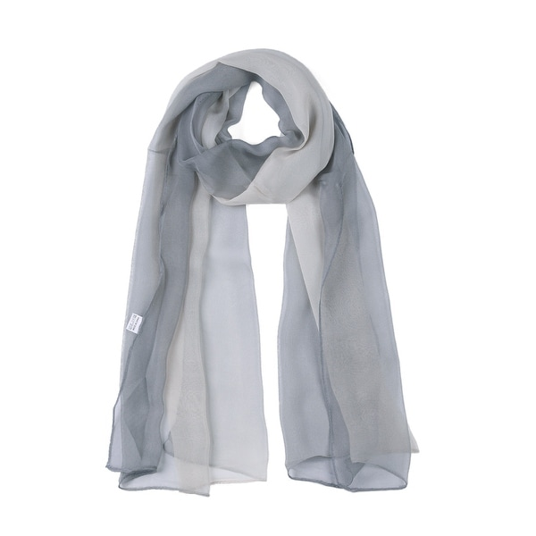 Long Chiffon Lightweight Gradient Color Scarf For Women Gray/Beige