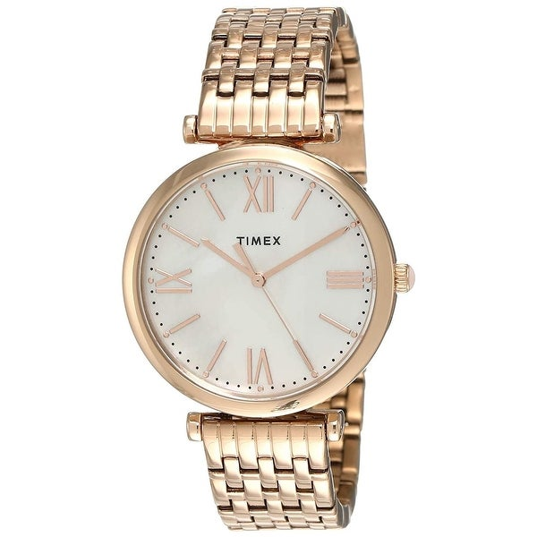 Timex Women's TW2T79200VQ 'Parisienne' Rose Gold-Tone Stainless Steel Watch - Silver. Opens flyout.