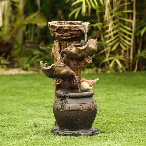 Resin Bird Nest Outdoor Fountain