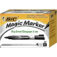 BIC Magic Marker Dry Erase Markers, Tank, Chisel Tip, Black, Pack of 24