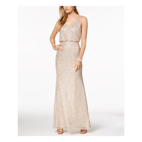 ADRIANNA PAPELL Gold Short Sleeve Maxi Dress 4