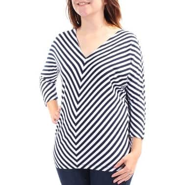 AMERICAN LIVING Womens Navy Striped 3/4 Sleeve Tunic Top Size S