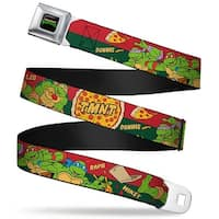 Classic Tmnt Logo Full Color Classic Tmnt 4 Turtles Pizza Party Stripe Red Seatbelt Belt