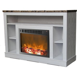 Cambridge Seville CAM5021-1WHT Fireplace Mantel with Electronic Fireplace Insert, White