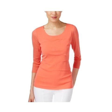 Alfani Coral Womens Tiered Illusion Scoop-Neck Blouse Pink XS
