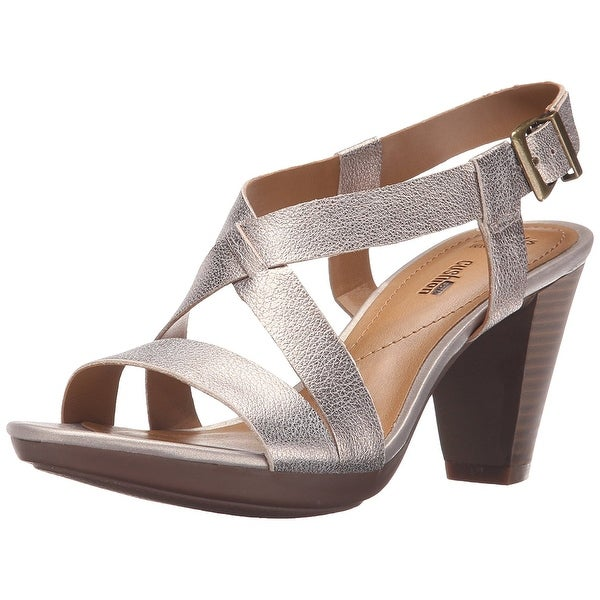ebf047a9d58 Shop Clarks Womens Jaelyn Fog Leather Open Toe Casual Ankle Strap ...