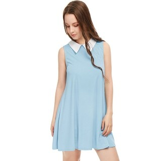 Unique Bargains Women's Sleeveless Contrast Color Peter Pan Collar Above Knee Swing Dress (5 options available)