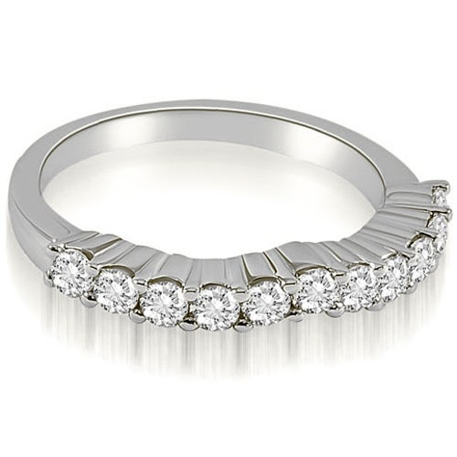 0.55 cttw. 14K White Gold Curved Round Cut Diamond Wedding Band