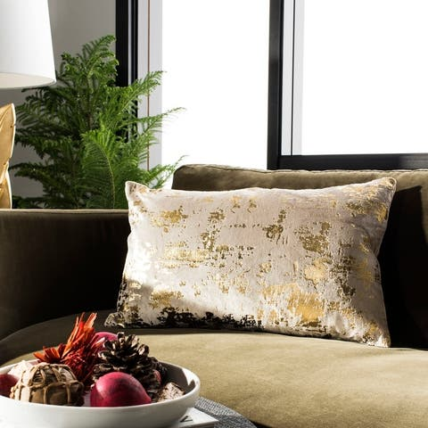SAFAVIEH Edmee Beige/ Gold Metallic 12 x 20-inch Decorative Pillow