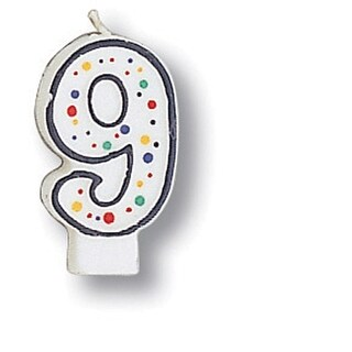 Polka Dot Numeral Candle #9