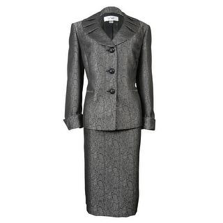 Le Suit Women's Jacquard Snake Print Bordeaux Skirt Suit - Black/silver - 4