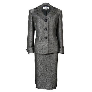 Le Suit Women's Jacquard Snake Print Bordeaux Skirt Suit - Black/silver