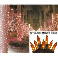 2' x 8' Orange Mini Christmas Net Style Tree Trunk Wrap Lights - Brown Wire