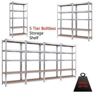 Costway 71'' Heavy Duty Storage Shelf Steel Metal Garage Rack 5 Level Adjustable Shelves - as pic - 1 pc